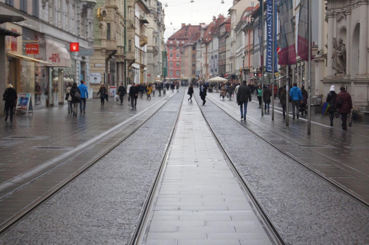 Herrengasse Die Herrengasse ist das Herzstück der Grazer Altstadt. Spaziert man an einem solchen Regentag an den vielen Geschäften vorbei, in die sich durchnässte FußgängerInnen retten, um dem Nebel und der feuchten Kälte kurz zu entgehen, vergisst man fast, dass sie ein Brennpunkt der Diskussionen rund ums Bettelverbot war und ist. An genau so einem nasskalten Februartag fand hier eine der größten Demonstrationen statt, die es in Graz je gab: Man demonstrierte gegen das Bettelverbot, anlässlich der Landtagssitzung vom 12.02.2011, in der es beschlossen wurde.